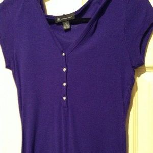 INC purple tee with 4 rhinestone buttons n hoodie
